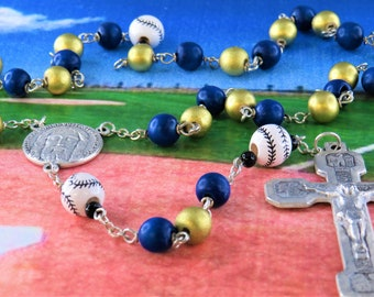 Baseball Blue and Gold Rosary - Blue & Gold Cheesewood Beads - Ceramic Baseballs - Italian Holy Face Center - Stations of the Cross Crucifix
