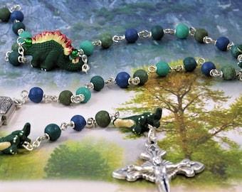 Dinosaur Rosary - Textured Green & Blue Glass Beads - Peru Ceramic Dinosaur Beads - Lourdes Water Center - Italian Flared Sunburst Crucifix