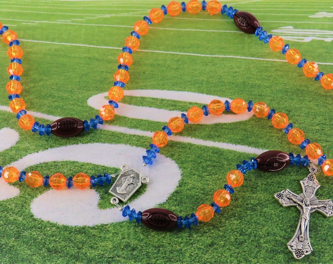 Football Sports Rosary - Orange and Blue - Blue and Orange - Black and Blue - Black and Silver - Dk Ruby Red and Gold - Assorted Team Colors