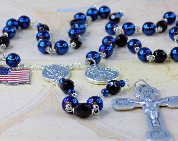 Police Officer Rosary - Blue Hematite Gemstone Beads, Czech Black Crystal Beads, St Michael Center and Stations Crucifix & US Flag Charm
