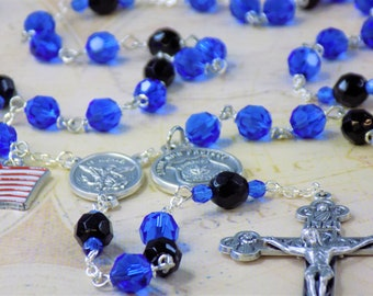 Police Officer Rosary - Czech Blue & Black 8mm Crystal Beads - Saint Michael Italian Silver Center - Italian Crucifix - US Flag Charm Rosary