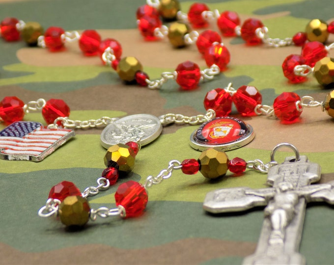 US Marine Corps Military Rosary - Czech Red and Gold Crystal Beads - St Michael Center - US Marine Corps Charm - Italian Stations Crucifix