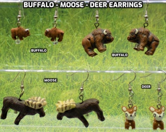 American Brown Buffalo (Bison) 11x16mm, American Brown Buffalo (Bison) 17x23mm, Moose and Deer 3D Earrings