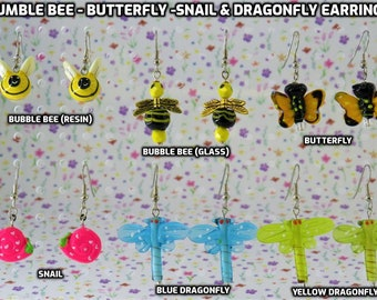 Bumble Bee - Butterfly -Snail & Dragonfly 3D Earrings - 6 Varieties