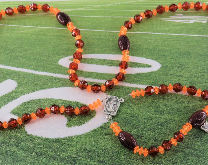 Football Sports Rosary - Brown and Orange - Blue and Silver - Green and Gold - Amethyst and Gold  - Lt Purple and Gold -Assorted Team Colors