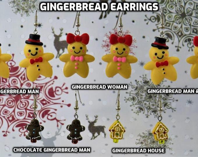 Gingerbread Earrings - Gingerbread Man - Gingerbread Woman - Gingerbread Man & Woman - Dark Gingerbread Man - Gingerbread House - 5 Styles