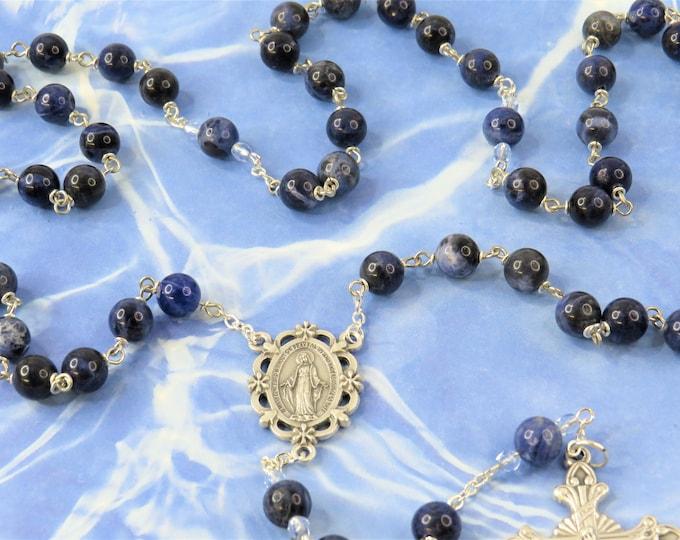 Sodalite Gemstone Rosary - Semi Precious Sodalite 8mm Beads - Italian Silver Our Lady Center - Italian Silver Sunburst Flare Crucifix