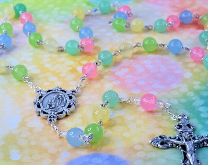 Pastel Jade Rosary - Semi Precious Pastel Jade 8mm Beads - Czech Father Accent Beads - Italian OL Lourdes Center - Italian Filigree Crucifix