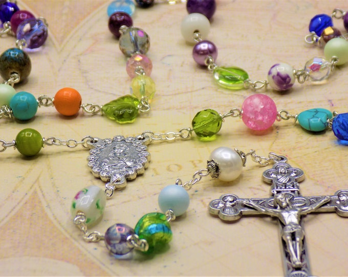 World Peace Rosary -Assorted Beads Coming Together in Prayer for a One of a Kind Rosary- Italian Mary Center - Italian Eucharistic Crucifix