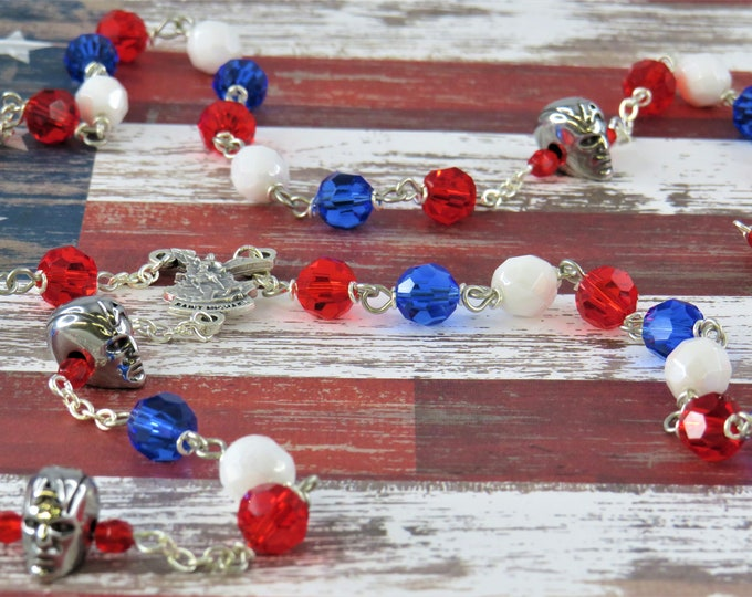 Captain America Rosary - Czech Red, White & Blue Crystal Beads - Captain America Father Beads - St Michael Center - St Benedict Red Crucifix