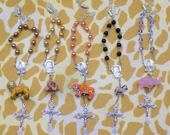 One Decade-Car Animal & Glass Rosaries - Lions, Monkeys, Tigers, Zebras and Elephants - Mother Mary Fatima Centers - Eucharistic Crucifixes