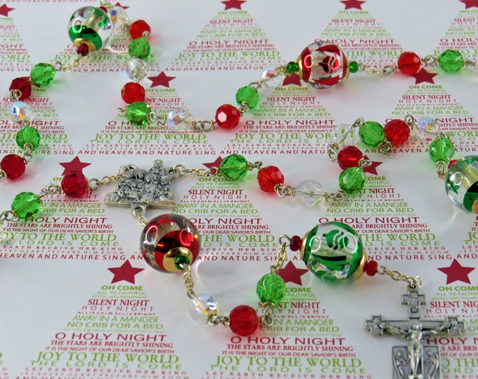Christmas Rosary - Czech Green, Red & AB Clear Glass Beads - Christmas Bead Father Beads - Italian Nativity Center - Italian Angel Crucifix