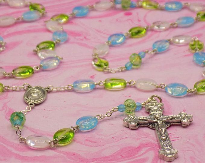 Czech Oval Glass Rosary - Czech Blue, Green & White Glass Beads - Czech Green Fancy Cut Beads - Medjugorje Center - Eucharistic Crucifix
