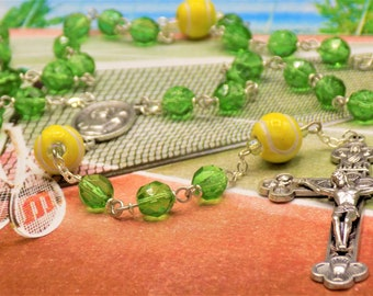 Tennis Ball Rosary - Czech 8mm Green Glass Beads - Ceramic Tennis Balls -Italian Saint Sebastian Center -Italian Silver Eucharistic Crucifix