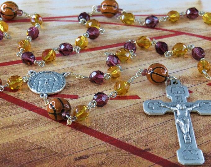 Basketball Rosary - Czech Purple and Gold Glass 8mm Beads - Peru Ceramic Basketballs - Italian Holy Face Center - Italian Stations Crucifix