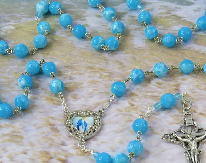 Blue Larimar Quartz Rosary - Blue Larimar Quartz Gemstone Beads - Heart Shape Our Lady Color Center - Italian Silver Fancy Filigree Crucifix