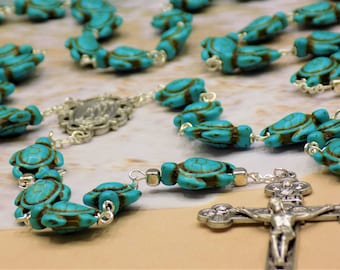 Turquoise Blue Turtle Rosary - Turquoise Blue Stone Turtle Beads - Italian Silver Lourdes Center - Italian Silver Eucharistic Crucifix