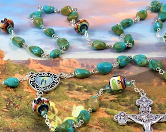 SW Turquoise Rosary - S/P Turquoise Beads - Southwest Painted Ceramic Father Beads- Colorful Our Lady of Grace -Italian Eucharistic Crucifix