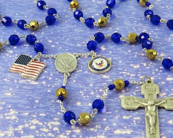 US Navy Military Rosary - Czech Dk Blue and Gold Crystal Beads - St Michael Center - US Navy Insignia Charm - Stations of the Cross Crucifix