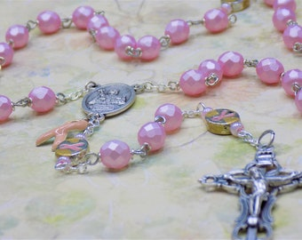 Czech Light Pink Rosary - Czech Light PInk 8mm Crystal Beads - Awareness Ribbon Metal Beads - St Agatha Center - Italian Filigree Crucifix