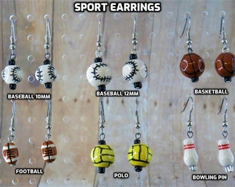 Sports Earrings - Baseballs (2 Sizes) - Footballs - Basketballs - Polo Balls - Bowling Pins - 5 Styles to Choose From