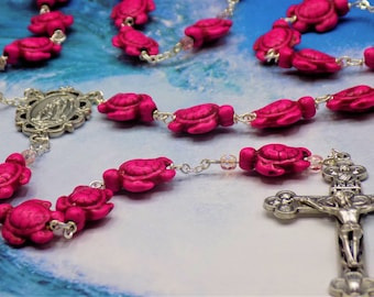 Pink Turtle Rosary - Pink Stone Turtle Beads - Czech Rose Crystal Accent Beads - Italian Silver Lourdes Center -Italian Eucharistic Crucifix