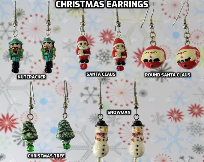 Holiday & Christmas Earrings - Nutcracker - Santa Claus - Round Santa Claus - Christmas Tree - Snowman - 5 Styles to Choose From