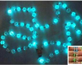 "Multi Color Czech Glass ""Glow in the Dark"" Rosary - Clear-Aqua-Green Glow in The Dark Glass Beads - Lourdes Water Center - Luminous Crucifix"