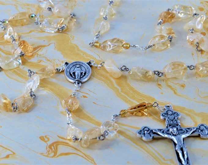 Citrine Rosary - Semi Precious Citrine Nugget Beads - Czech Yellow Accent Beads -Miraculous Medal Mary Center - Italian Eucharistic Crucifix