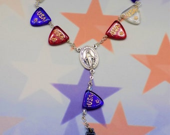 One Decade & Car Rosaries - USA Banner Crystal - Multi Color Glow in the Dark - Topaz Pink Glow in the Dark - Italian Centers and Crucifixes