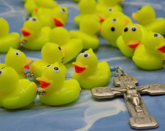 Rubber Ducky Rosary - Soft Solid Rubber Duck Beads - Czech Glass Beads - Italian Silver Fatima Center - Stations of the Cross Crucifix