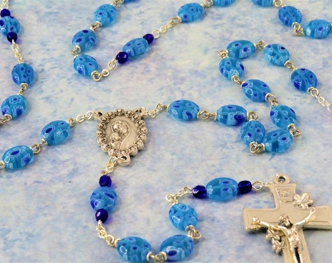 Aqua Flower Millefiori Rosary - Aqua, Blue & White Millefiori Glass Puffed Oval Beads -  Italian Mary/Roses Center -Italian Flowers Crucifix