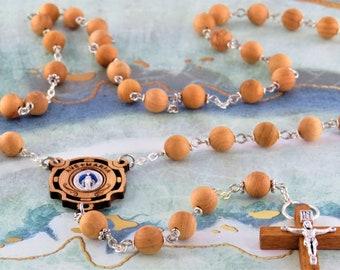 Natural Cedar Wood Rosary - Aromatic Natural Cedar 8mm Wood Beads - Metal Accent Beads - Olive Wood Miraculous Center -Italian Wood Crucifix