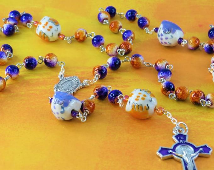 Owl Rosary - Purple & Orange Glass Beads - Ceramic Owl Father Beads - Italian Immaculate Mary Center - Purple Enamel Saint Benedict Crucifix