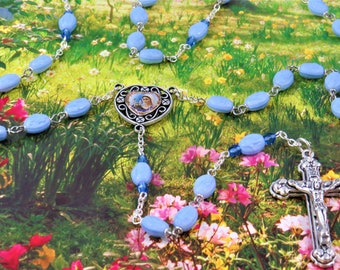 Blessed Virgin Mother Mary Rosary  - Blessed Mother Mary Powder Blue Beads -Medugorje and Divine Mercy Color Center -Italian Hearts Crucifix