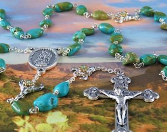 Turquoise Stone Rosary -Turquoise Magnesite Stone Nugget Beads -Rhodium Bullhead Skull Father Beads -Holy Family Center-Eucharistic Crucifix