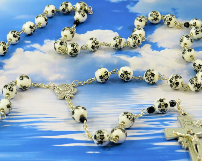 Black & Flower Rosary - Black and White Flower Ceramic Beads - Italian Silver Rose and Mary Center - Italian Silver Flower Crucifix