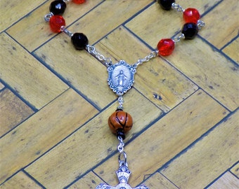 One Decade & Car Rosaries - Czech Black and Red Basketball Beads -Pink Glass Beads - Czech Neon Glass Beads - Italian Centers and Crucifixes