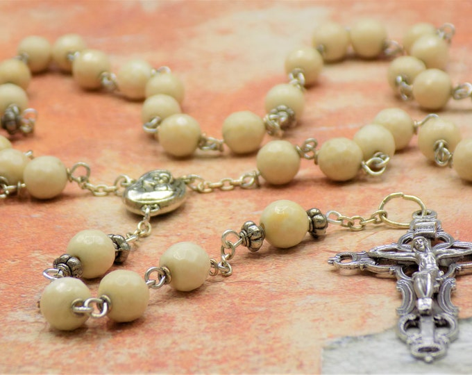Natural Petrified Wood Rosary - Petrified Wood Beads - Metal Father Accent Beads - Mary & Child Center with Earth -Italian Filigree Crucifix