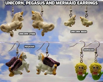 Unicorn (2 Sizes), Pegasus and Mermaid Earrings