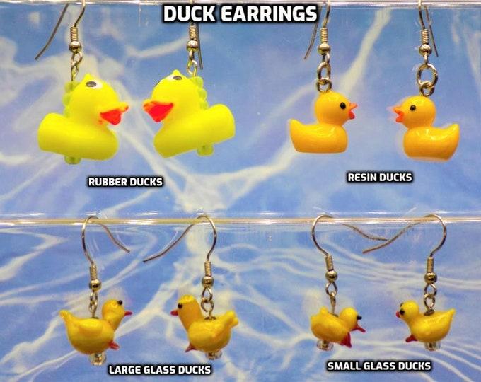 Duck Earrings - Rubber Duck Earrings - Resin Duck Earrings - Glass Duck Earrings (2 Sizes) - 4 Different to Choose From
