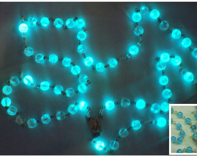 "Aqua Czech Glass ""Glow in the Dark"" Rosary - Czech Aqua Glow in The Dark Glass Beads - Our Lady of Fatima Water Center - Luminous Crucifix"