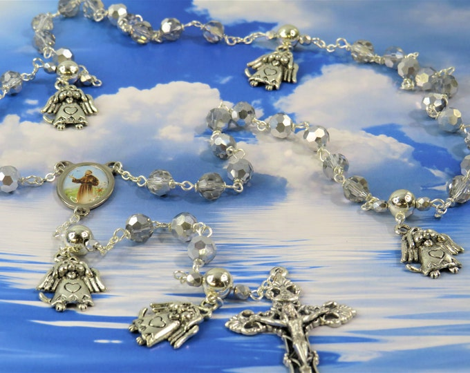 Dog Angel Rosary - Czech Crystal & Silver Beads - Pewter Father Beads -Dog Angel Charms-Italian St. Francis Center-Italian Filigree Crucifix
