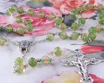 Czech Lt Rose & Green Rosebud Rosary - Czech Matte Lt Rose and Green Rosebud Glass Beads - Lourdes Center with Water -Ital Filigree Crucifix
