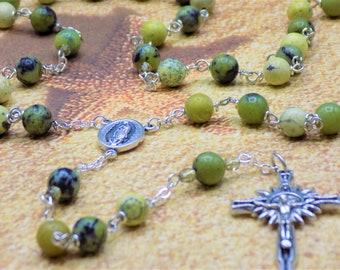 Yellow Turquoise & Serpentine Rosary - Yellow Turquoise and Serpentine Gemstone Beads - Italian Guadalupe Center - Italian Sunburst Crucifix