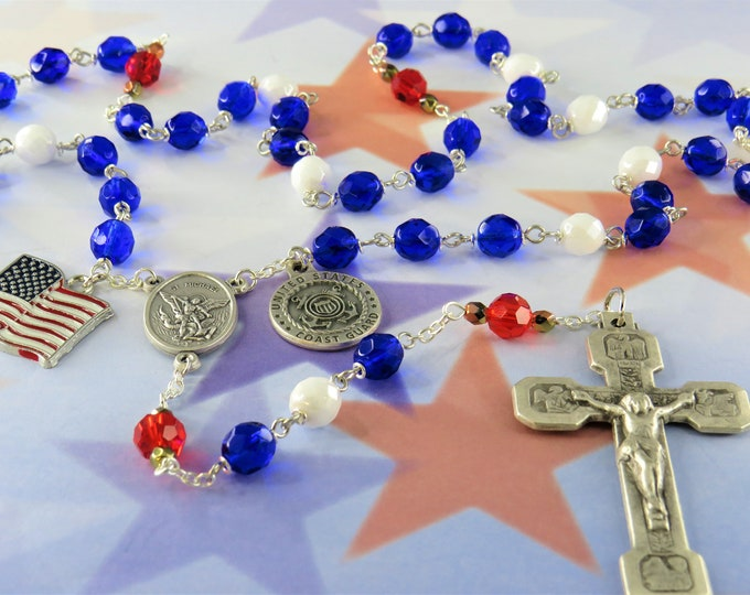 US Coast Guard Military Rosary -Czech Blue and Red Crystal Beads-St Michael Center - St Christopher & US Coast Guard Charm-Stations Crucifix