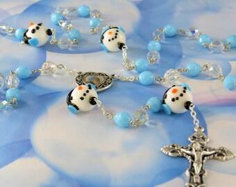 Snowman Rosary - Czech AB Clear & Blue Crystal Beads - Handmade Snowman Beads -Medjugorje and Divine Mercy Center -Italian Filigree Crucifix