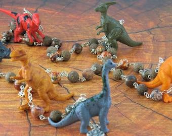 Dinosaur Rosary - Brown Lava Gemstone & Leopard Jasper Beads -Textured Dinosaur Beads -Fatima Center With Earth-Italian Eucharistic Crucifix
