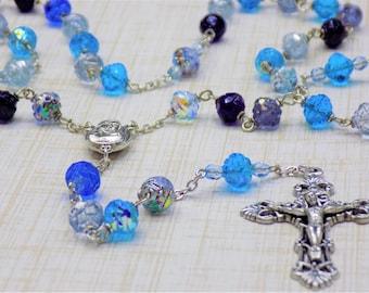 Czech Multi Blue Rosebud Rosary - Czech Crystal Rosebud Multi Blue Beads - Mary Center with Earth from Jerusalem - Italian Filigree Crucifix