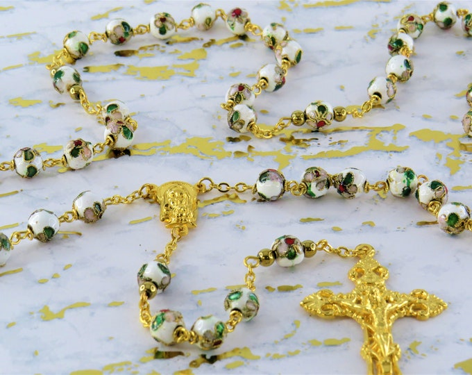 White Flower Cloisonné Rosary - Cloisonné Metal White 8mm Beads - Italian Mary & Child-Our Lady of Fatima Center - Italian Filigree Crucifix
